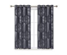 Deconovo Rideaux Occultants à Oeillet Salon Abstract Argente Motif Anti Chaleur Isolation Thermique Fenêtre pour Enfant Chambre 2 Pcs, Gris Foncé, 117x138cm