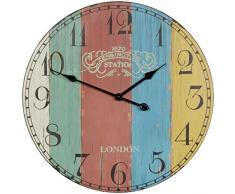 Wohnling Horloge Murale décorative Vintage XXL Ø 60 cm en Bois à Rayures Multicolores Grande Horloge Rustique – Design : etro Horloge de Cuisine pour Cuisine et Salon