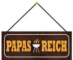 Schatzmix Papas Reich Plaque décorative en tôle avec Grille 27 x 10 cm