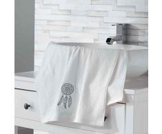 Douceur dIntérieur Talisman Serviette de Toilette, Coton, Blanc, 50 x 90 cm