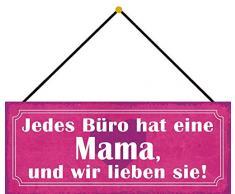 Schatzmix Bureau a Une Maman et Nous Aimons la décoration avec Cordon en tôle Multicolore 27 x 10 cm