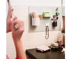 KalaMitica KIT-74 Set Tableau de Salle de Bain avec Accessoires magnétiques, kit Bathroom74, métal, Argent, 56 x 38 x 1 cm