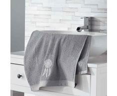 Douceur dIntérieur Talisman Serviette de Toilette, Coton, Gris, 50 x 90 cm
