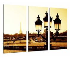 Tableau Moderne Photographique, Impression sur bois, Sépia Paysage Ville Paris, Tour Eiffel, Lampadaire français, 97 x 62 cm, ref. 26996