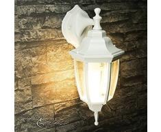 """'Rustique Applique murale extérieure""""Lyon en blanc/gris hängend/IP44 230 V E27/nostalgiques Lanterne Lampe d'extérieur Lampe murale pour escalier jardin cour"""