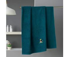 douceur dintérieur drap de bain 90 x 150 cm eponge brodee toucalaos bleu