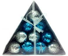 MG Decor Collection Madhus Cimier étoile à boules de Noël à sequins assorties Bleu Aqua Argent-dans une boîte cadeau, 7,6 cm, 10 pièces