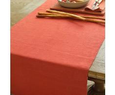 Lara Chemin de table en lin Orange, orange, 50 x 140 cm