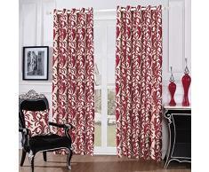 Just Contempo Paire de rideaux à œillets style jacquard Motif volutes, Polyester, Rouge (Beige), Paire de rideaux 168 x 229 cm (salon)
