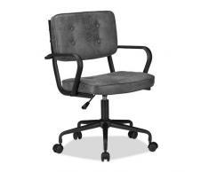 Relaxdays Chaise de bureau, chaise pivotante réglable en hauteur, confortable, tissu, capacité de 120 kg, dimensions : 95 x 60 x 60 cm, gris