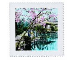 3drose Tea House Geisha en Fugetsu Jardin donnant sur Bassin vintage Japon Lit carré, Multicolore, 14x 35,6cm