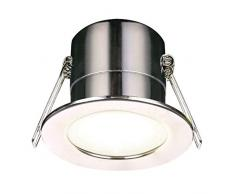 Luceco LED F-Eco Plafonnier à intensité variable 450LM 5W IP65 4000K Chrome poli