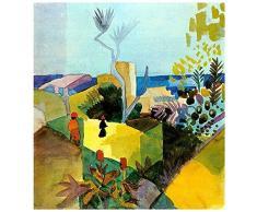 Legendarte Tableau, Impression sur Toile - Paysage À La Mer August Macke - cm. 60x60