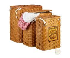 Relaxdays Coffres à Linge Bambou Set de 3 Corbeille à Linge Couvercle Sac à Linge Tissu Amovible, Miel