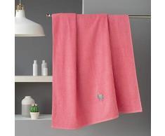 douceur dintérieur drap de bain 90 x 150 cm eponge brodee lamalima rose