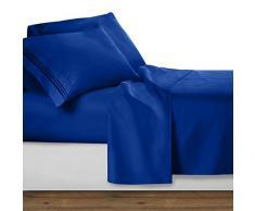 Clara Clark Ensemble Parure de lit de de la Collection Premier 1800 en Microfibre à 3 Lignes, Bleu Marine, Queen Size