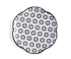 Quid B & W Grès, Blanc et Noir Plat Rond 15x15x2 cm Noir/Blanc