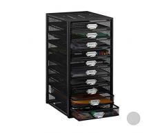 Relaxdays 10024817_46 Corbeille à courrier Documents Organiseur Porte-revues 10 tiroirs Compartiments Format A4, Noir, Acier, 55 x 27,5 x 35,5 cm