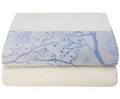 Garnier-Thiebaut PARADE Drap Plat, Coton, Céleste, 270 x 310 cm