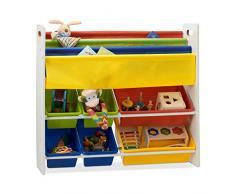 Relaxdays Étagère de rangement pour enfant avec étagères et compartiments suspendus Multicolore 78,5 x 86 x 26,5 cm