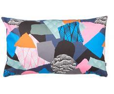 Maison Martin Morel 0660042082107 Coussin Rectangulaire Patchwork Verso Wave Coton Multicolore/Orange 8 x 30 cm