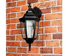 Applique murale dextérieur classique noir rustique E27 H:38cm IP44 lanterne lanterne balcon terrasse cour intérieure LYON