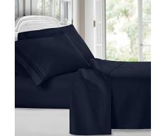 Clara Clark Ensemble Parure de lit de de la Collection Premier 1800 en Microfibre à 3Lignes, Bleu Marine, Queen Size