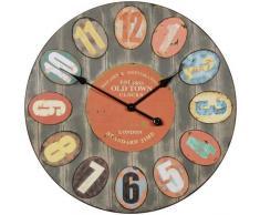 Wohnling Horloge Murale décorative Vintage XXL Ø 60 cm London Old-Town en métal coloré Grande Horloge Rustique Ronde Design : Montre de Cuisine et Salon