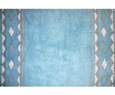 Aratextil Indiana Tapis Enfant, Coton, Bleu Ciel et Gris, 120Â x 160Â cm