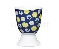 Kitchen Craft KCEGGFLORABLU Coquetier Floral, Porcelain, Bleu, 9 x 12 x 16 cm