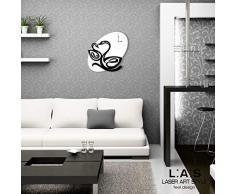 L:A : S Laser Art Style Horloge Murale Design Moderne pour Cuisine, Salon, séjour SI-241OR 68x68 cm Blanc/Noir