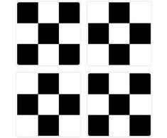 PLAGE 260518 Sticker Smooth carrelage, Damier, 4 planches, 14,5 x 14,5 cm