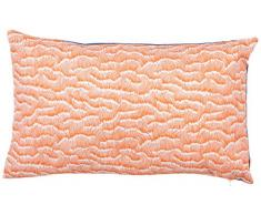 Maison Martin Morel Coussin Rectangulaire Wave Verso, Coton, Bleu/Orange, 30x8x50 cm