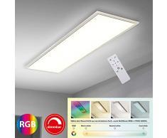 Briloner Leuchten - Panneau LED RVB CCT Ultra-Plat, Plafonnier Rectangulaire (119,5 x 29,5 cm), Blanc, Température de Couleur réglable (3 000-6 500 Kelvin), Dimmable, Intensité Lumineuse 4100 lumens