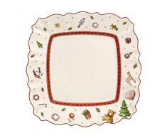 Villeroy & Boch Toys Delight Assiette petit-déjeuner carrée, 22 x 22 cm, Porcelaine Premium, Blanc/Rouge