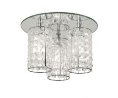 Oaks Lighting Lampe de salle de bain Glamour Plafonnier avec abat-jours en forme de gouttes en cristal Chromé