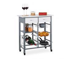Relaxdays 10025972 Chariot Cuisine, 2 tiroirs, paniers, étagère à vin, desserte de Service, Surface de Travail,84x76x40cm,Blanc