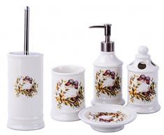 GMMH Maison de Campagne Vintage badset Papillons Salle de Bain Set daccessoires Distributeur de Savon Brosse WC Céramique (Lot de 5)