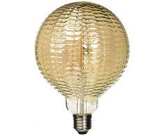 Lighted Ampoule LED Globe strie E27, 6 W, gris fumé, 125 x 175 mm