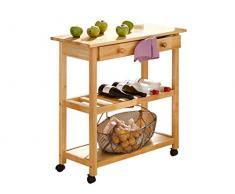 LifeStyleDesign 390120 alaska chariot de cuisine 87 x 40 x 80 cm, caoutchouc, bois, mDF bemahlt jambes en bois massif naturel