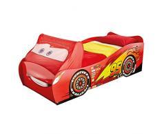 Cars 525LMN Flash McQueen de Disney Lit simple pour Garçons avec Rangement sous lit Bois Rouge/Noir 210 x 93 x 67,5 cm