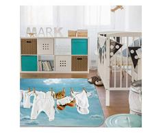 HOK- Tapis Ultra Doux Mon Linge Blanc - Polyester - 70 X 95 cm - Tapis Chambre Enfant - Made in Europe
