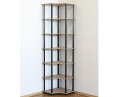 Modo24 Étagère Tubulaire DEDAL-7W, étagère pour Bureau ou Cave, étagère dAngle, étagère à Livres, Noire, 7 étages