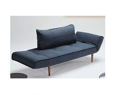 INNOVATION LIVING Canape Design ZEAL STYLETTO Nist Blue Convertible Lit 200 * 70 cm
