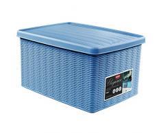 Stefanplast 2075898 Boîte de Rangement Elegance 29x39x21cm en Ciel Bleu Plastique