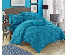 Chic Maison 10pièces Hannah Pincez plissé, volants et plissé complet dans un sac de Doudou Beige avec lit King size de lit, turquoise, Queen Size