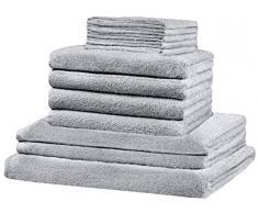 Lot de 12. 12 pièces de serviette éponge XXL SET: toutes les tailles sont couvertes - 5 serviettes de toilette, 4x serviettes, 2x serviettes de bain, 1x serviette de bain - 100% coton, - 10 couleurs supérieures (argent/gris clair).