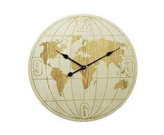 Rebecca Mobili Horloge Murale rond, Horloge Mappemonde, Bois, Blanc - Diametre 60 cm x L 4,5 cm - Art. RE6153
