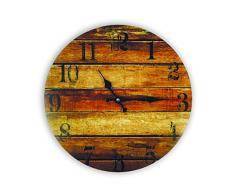 Zep GP27 Horloge Murale en Verre Stoke, Marron, Gris, Noir, Beige, 34 x 34 x 3,5 cm