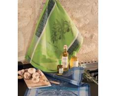 Garnier Thiebaut Torchon, Coton, Vert Brumeux, 56x77 cm